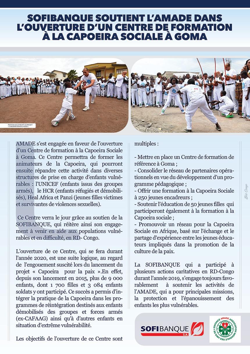 SOFIBANQUE soutient l'AMADE dans l'ouverture d'un Centre de formation à la Capoeira Sociale à Goma